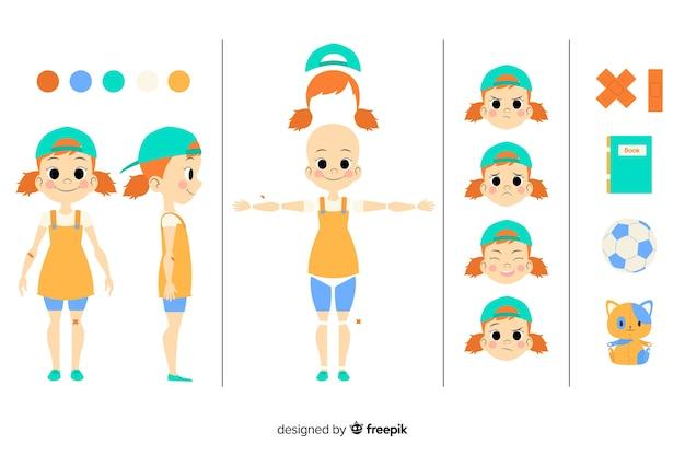 モーションデザインのための漫画の子供