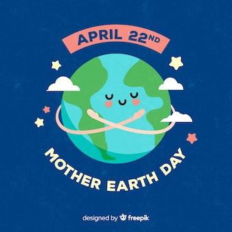 幸せな母地球日手描きの背景