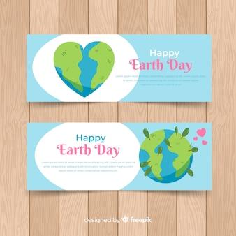 手描きの幸せな母なる地球日バナー