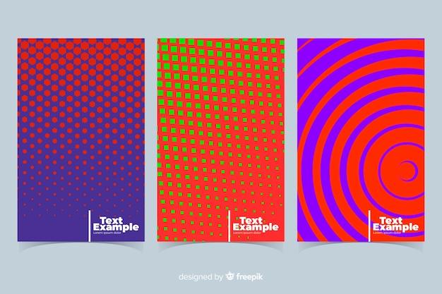 カラフルな幾何学的な線のパンフレットのコレクション