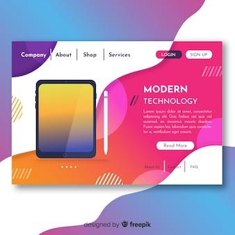 テクノロジデバイスを含む抽象ランディングページ