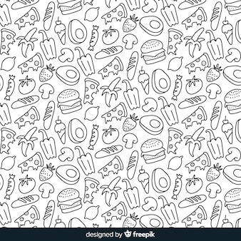 手描きの無色の果物と野菜の背景