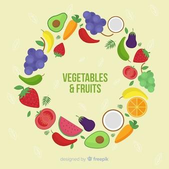 Плоский фруктовый и овощной фон