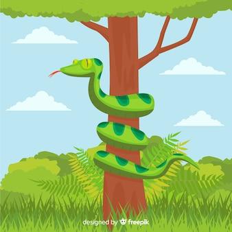 手描きの蛇が木の背景の周りに曲がって