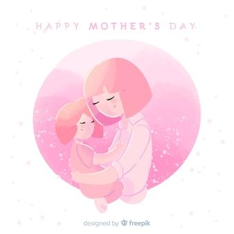 母の日母娘を抱いて