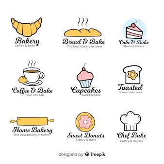 手描きのパン屋さんのロゴのテンプレート
