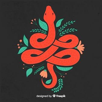 花の背景を持つ暗い手描き下ろしヘビ
