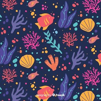 手描きの濃いサンゴの背景