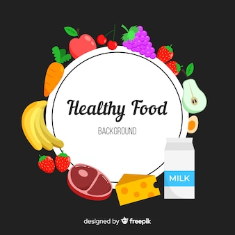 Фон плоский здоровой пищи