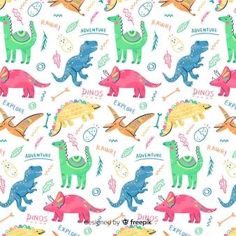 カラフルな落書き恐竜と言葉のパターン