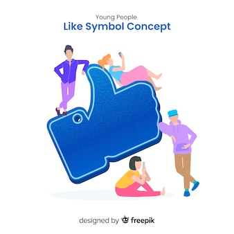 コンセプトの背景のような手描きの若い人たちソーシャルメディア