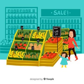 スーパーマーケットの背景に描かれた人々を手します。