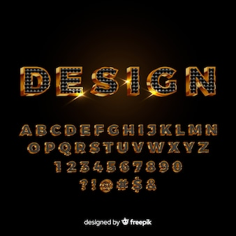 黒と金のアルファベット