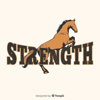 単語の背景を持つ描かれた馬を手します。