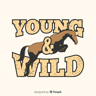 Ручной обращается лошадь с фоном слова