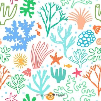 Ручной обращается пастельный цвет коралловый фон