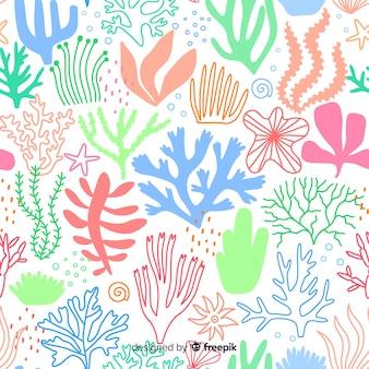手描きのパステルカラーのサンゴの背景