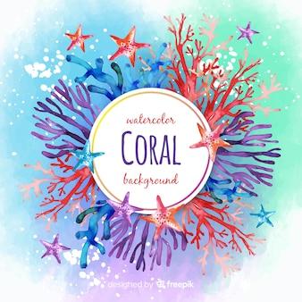 Акварель красочный коралловый фон