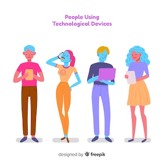 技術的なデバイスパックを使用して手描きのカラフルな若者