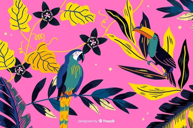 手描きの熱帯鳥と葉の背景