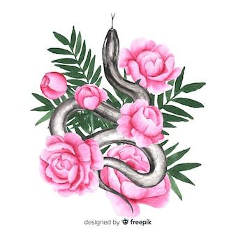 Акварельная змея с фоном цветов