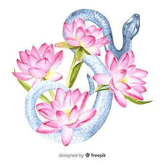 花の背景を持つ水彩蛇