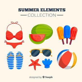 Коллекция красочных летних элементов