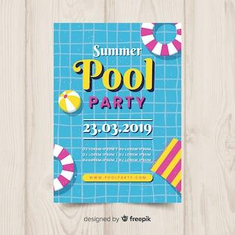 Плакат летней вечеринки у бассейна