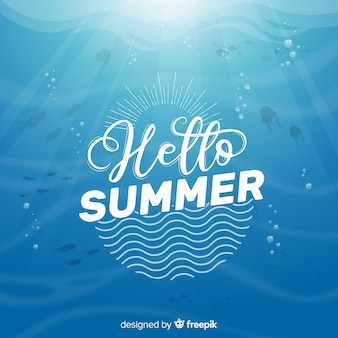 夏の背景をレタリング