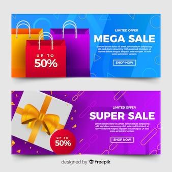 現実的な要素を持つ抽象的な幾何学的な販売バナー