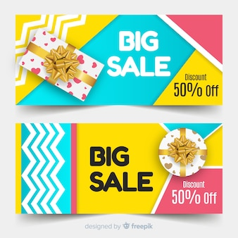 Абстрактные геометрические продажи баннеры с реалистичными элементами