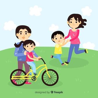 Семья на открытом воздухе