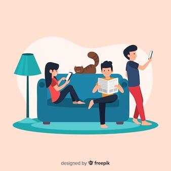 Рисованной люди отдыхают дома
