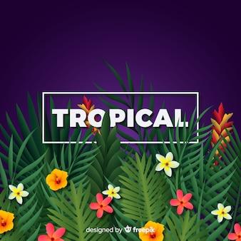 Реалистичные тропические цветы и листья