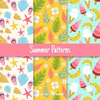 手描きの夏要素パターンコレクション
