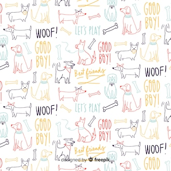 手描きの言葉と動物のパターン