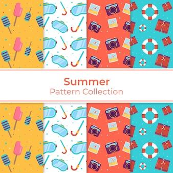 平らな夏の要素パターンコレクション