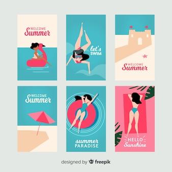 平らな夏の女の子カードコレクション