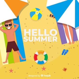 Плоский привет летний фон