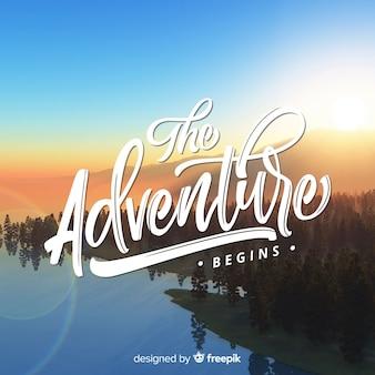 写真と冒険の背景をレタリング