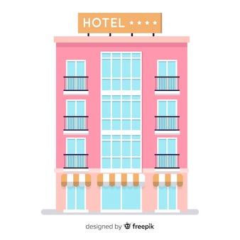 Плоский отель здание фон