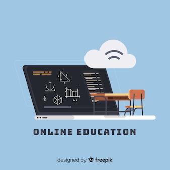 オンライン教育の平らな背景