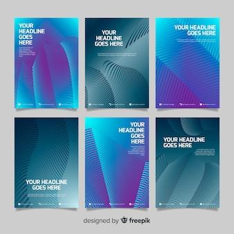 Коллекция брошюр из красочных геометрических линий