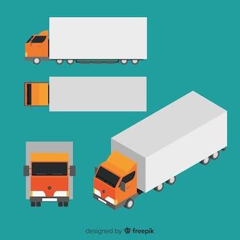 Изометрическая коллекция перспектив грузовика