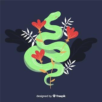 花の背景と手描きのヘビ