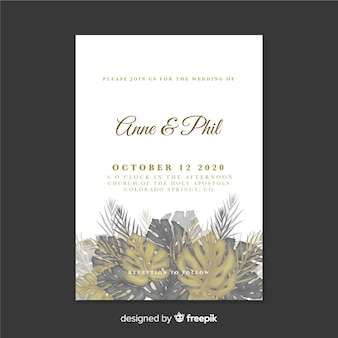 熱帯の結婚式の招待状のテンプレート