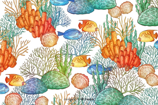 Акварель коралловый фон
