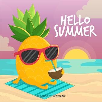 カクテルの夏の背景と手描きのパイナップル