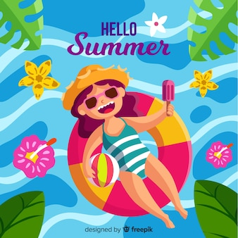 スイミングプールの夏の背景に浮かぶ手描きの女の子