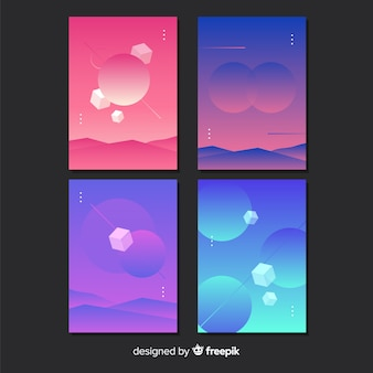 グラデーション反重力幾何学的図形ポスターセット